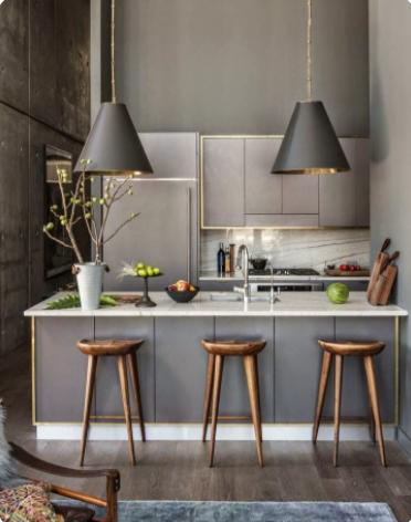 cocina gris y blanco elegante