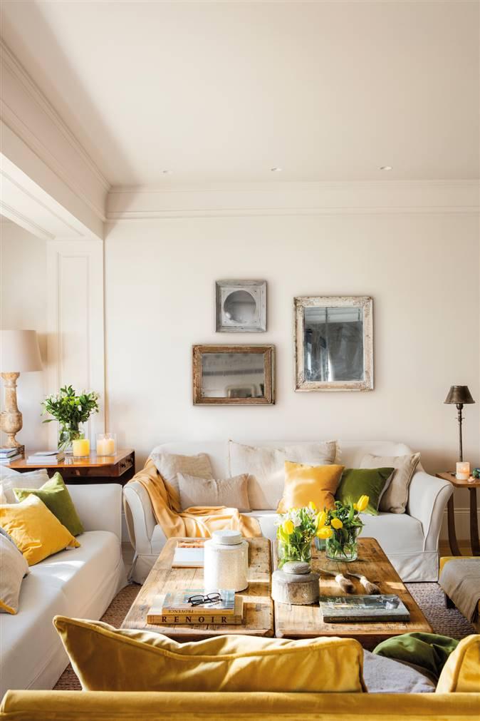 salon amarillo y blanco comodo
