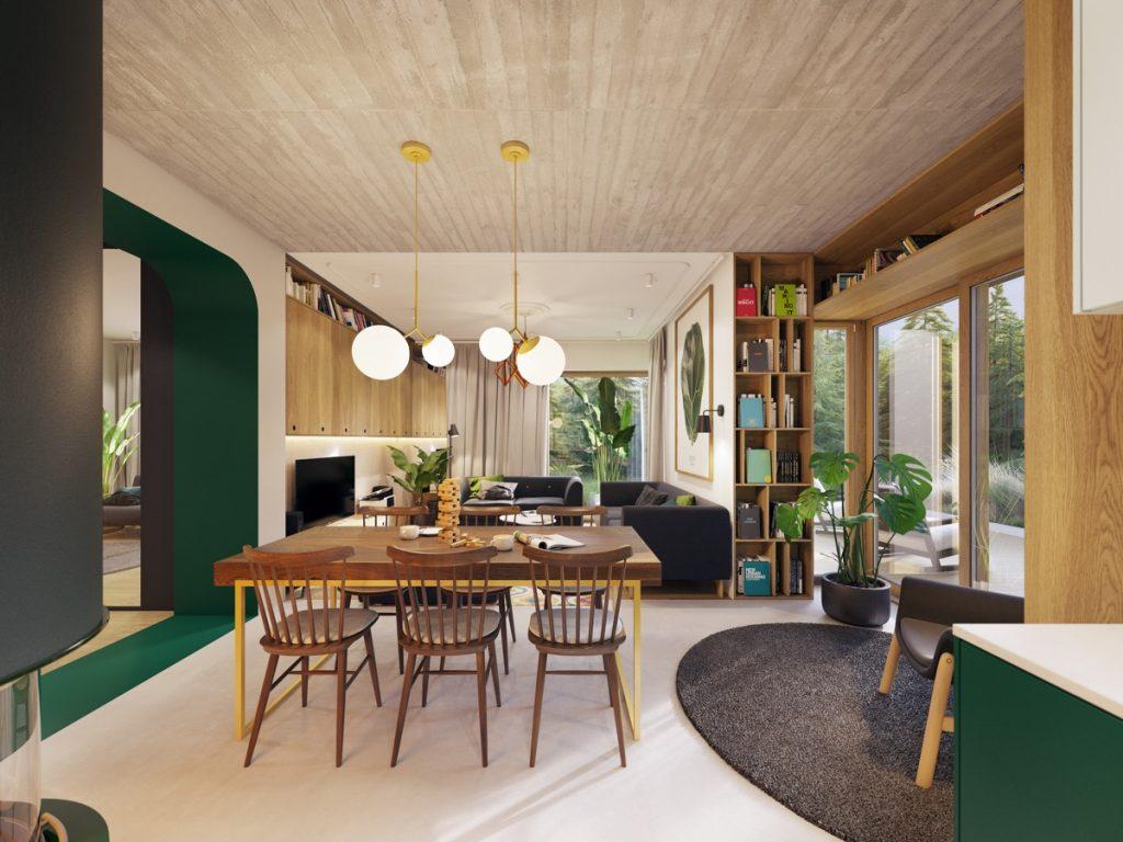 Salón comedor cuadrados con diferentes estilos