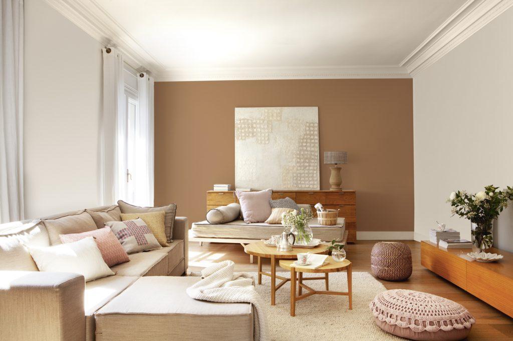 pintar solo una pared del salón de marrón