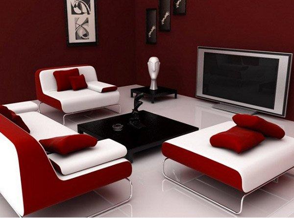 salon granate y blanco con sofás modernos