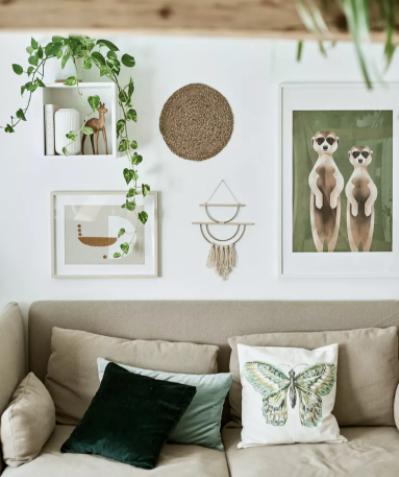 salon en dos colores: salvia y verde