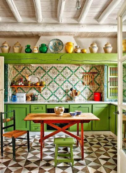 Decoración de paredes vintage verde en cocina