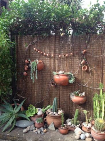 Decoración de jardín rústico con cactus