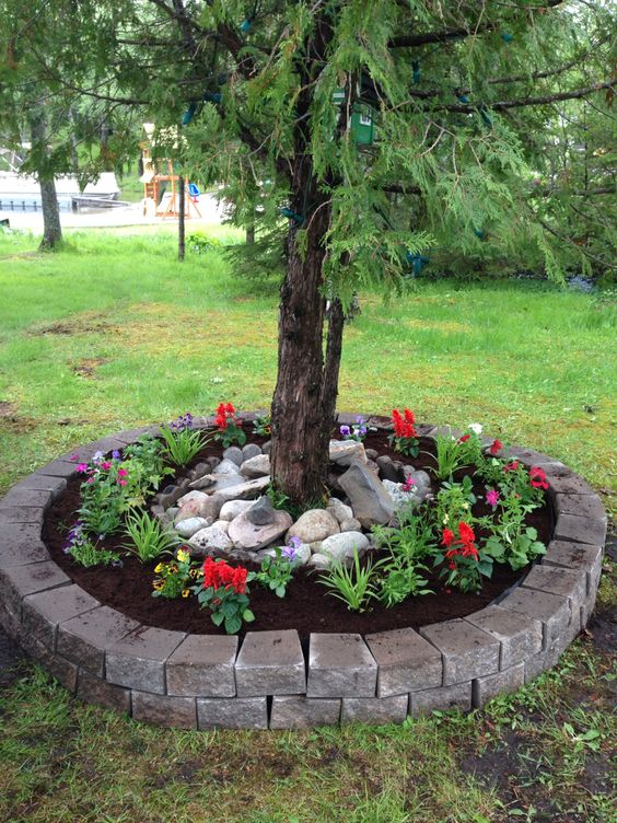 usa los ladrillos Como una isla decorativa para un árbol del jardin