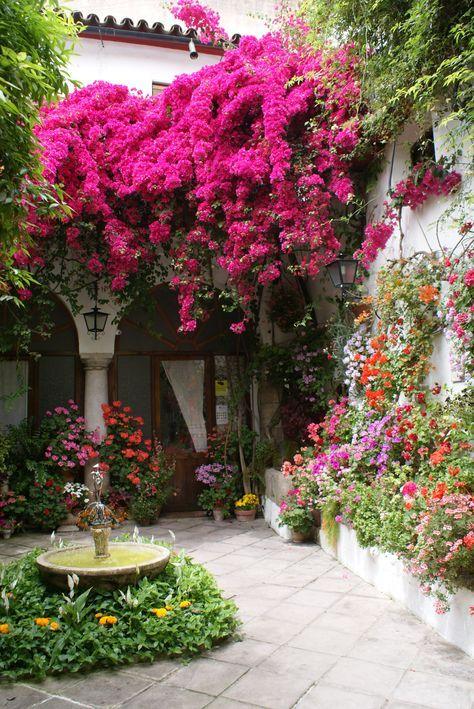 Paredes altas y blancas en patios españoles