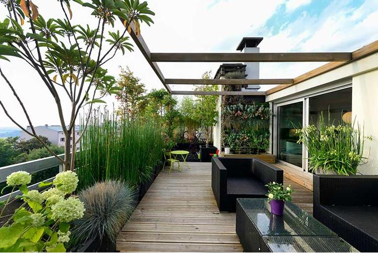 Decorar terrazas y balcones grandes con plantas