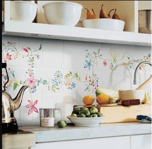 Azulejos de pared de cocina pintados a mano alzada