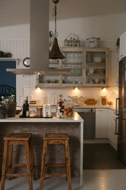 Cocina rústica vintage en blanco