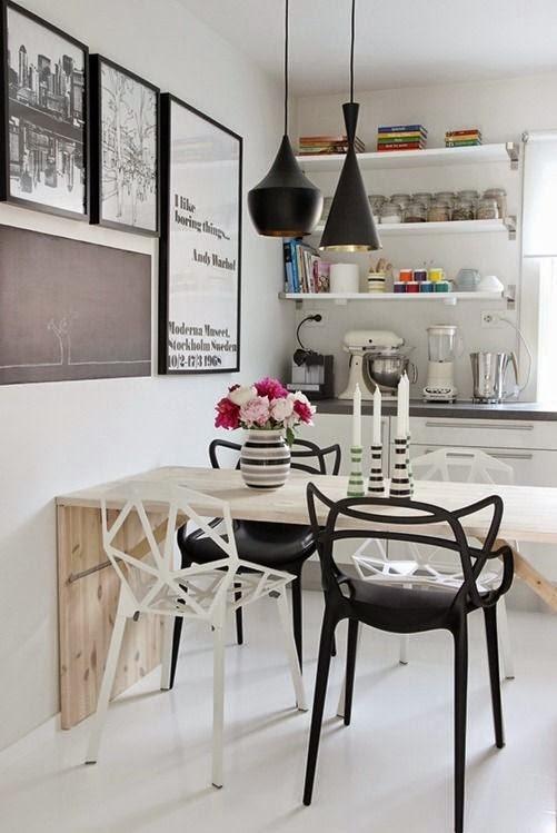 Crea un office ecléctico para la mesa de la cocina