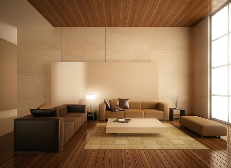 Moderno y minimalista salón en madera