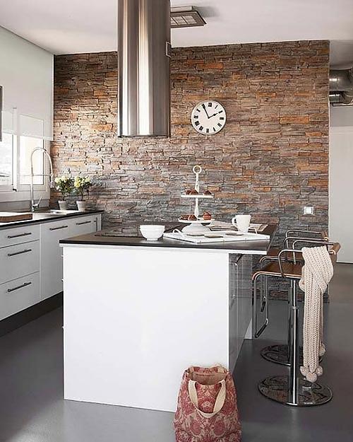 paredes de piedra en una cocina para cocineros