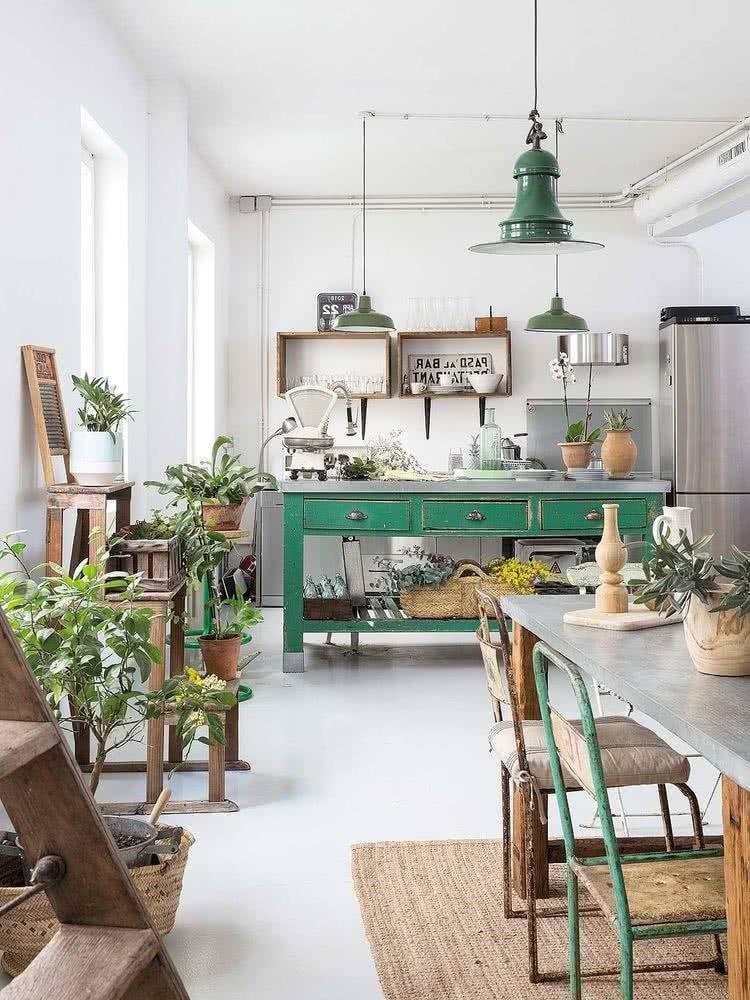 cocina con adornos Vintage, ecológicos y modernos