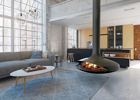 salon minimalista con chimenea original