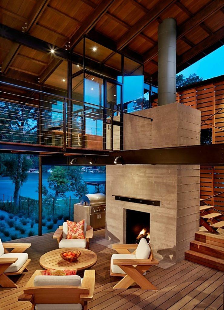 Salón al natural en el paraíso con madera