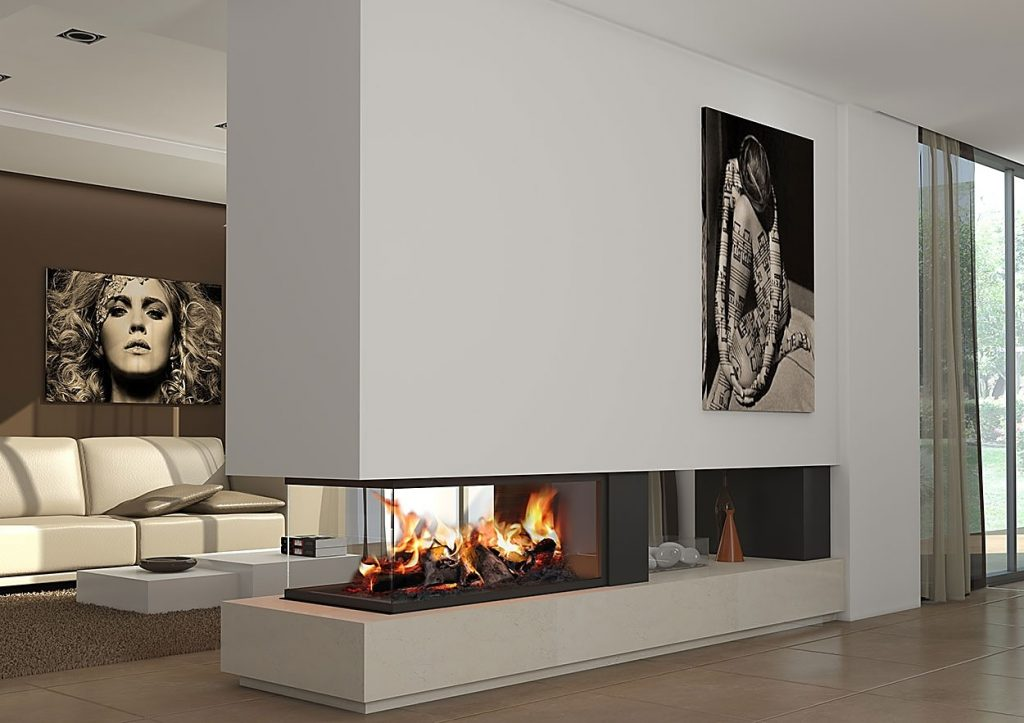 salon minimalista con chimenea moderna