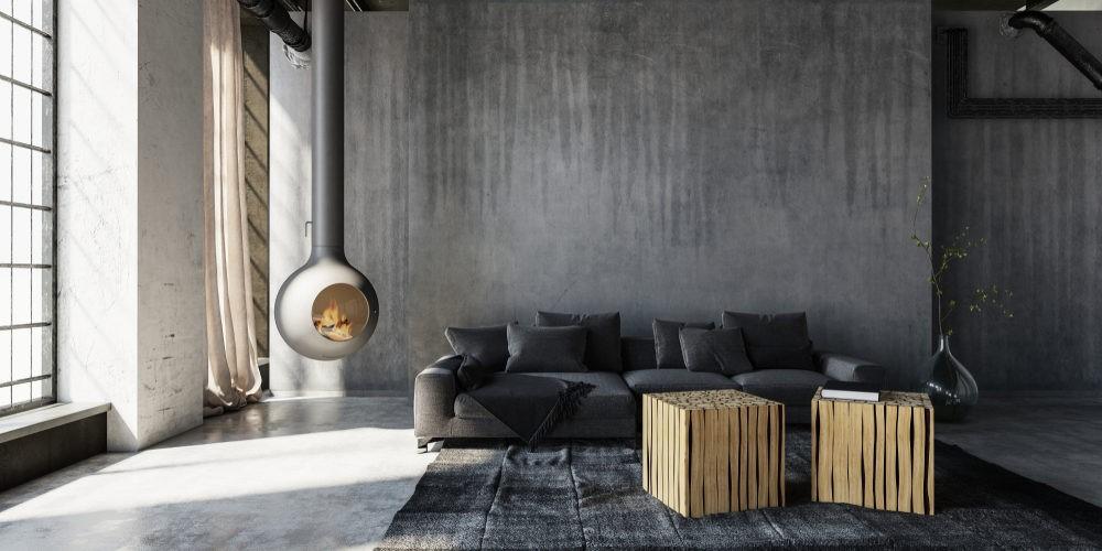 salon minimalista con chimenea industrial