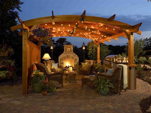 patio grande con pergola