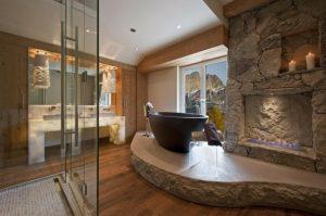 baños decorados con madera