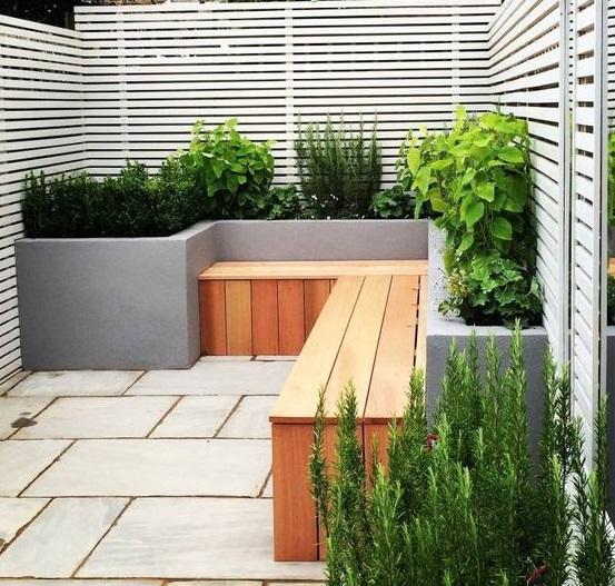 muebles para Decoración de patios pequeños minimalistas