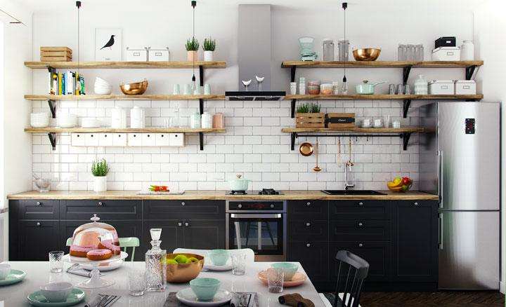 Elimina el desorden en cocinas pequeñas