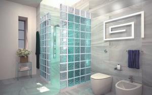 decoración de baños con ladrillos de vidrio