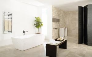 decoración de baños modernos con piedra