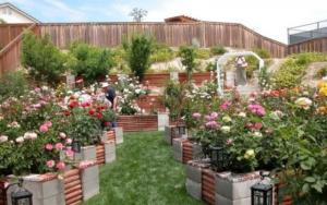 decoración de jardines con bloques de cemento