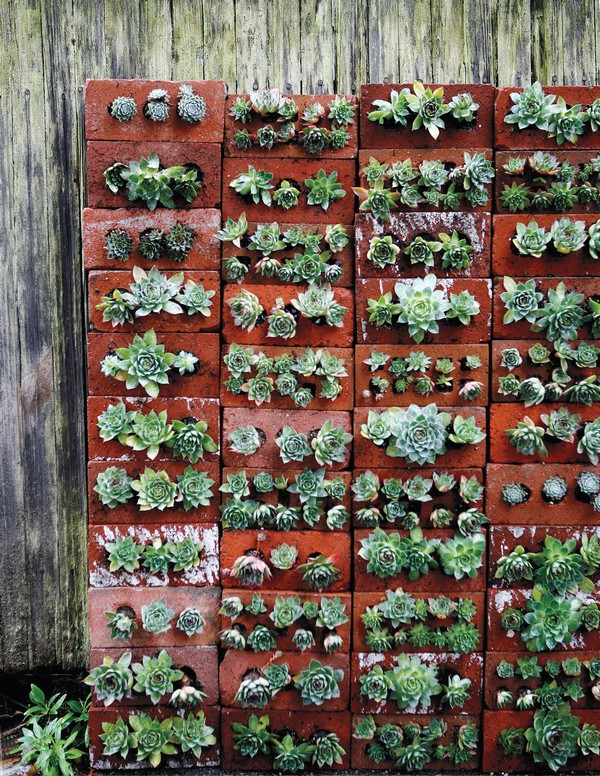 Una forma única de utilizar el ladrillo en la pared del jardín