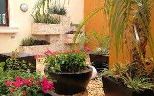 jardines pequeños con flores y piedras