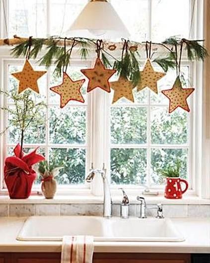 Decoración de ventana de cocina para navidad