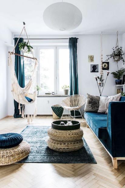 Salón azul estilo boho