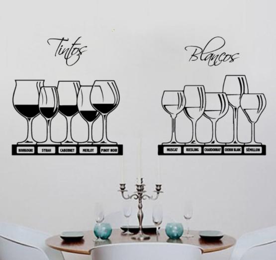 Vinilos decorativos de vino para pared de cocina