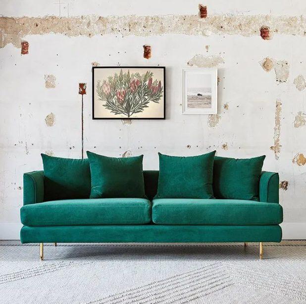 Cojines para sofá verde monocromáticos