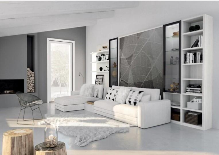 Muebles blancos en salón moderno