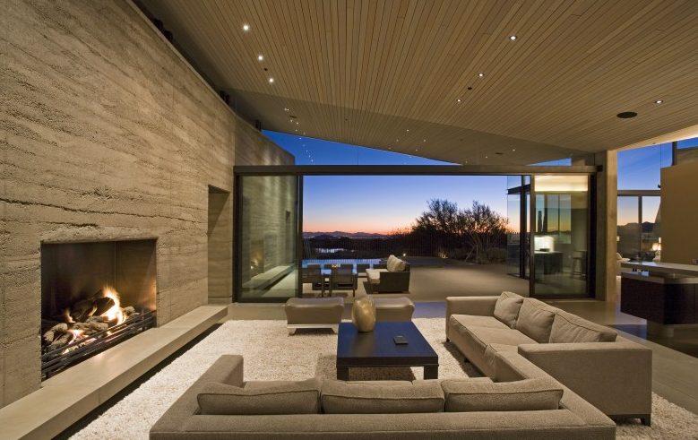 Salones modernos 2021 con chimenea