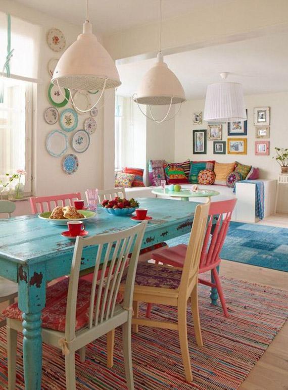 Las mesas decapadas en la cocina boho chic