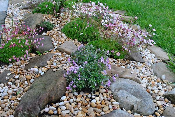 Un jardín de piedras de río