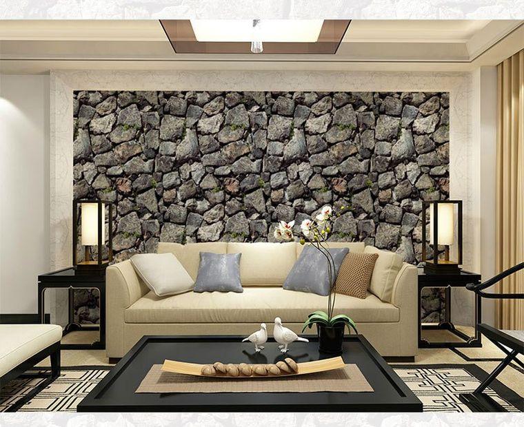 Pared revestida con piedras grandes para el interior de tu casa