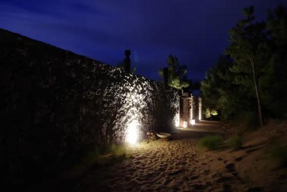 patio con luces en el suelo