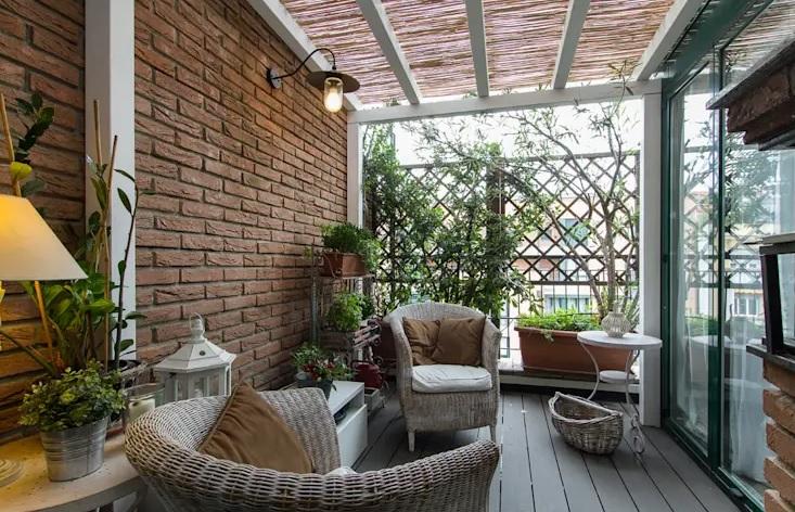 terrazas rústicas con fibras naturales