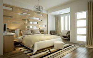 Dormitorios con madera en la pared