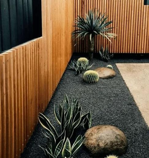 Elegancia plena con piedras negras en el patio