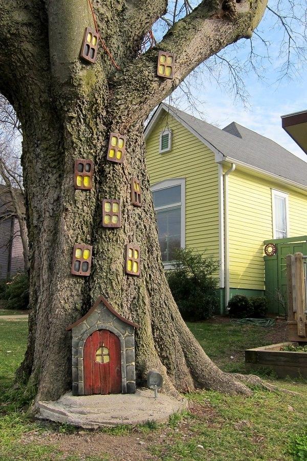 decorar árboles de jardín de cuento