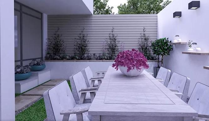 Paredes decoradas con tablas para jardín