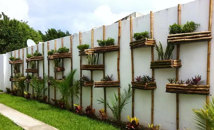 Paredes decoradas con bambu para jardín