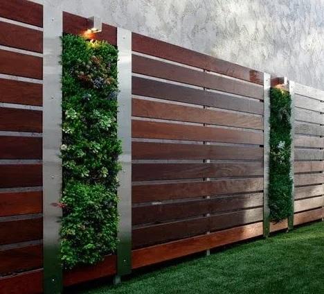 Paredes decoradas de madera para jardín