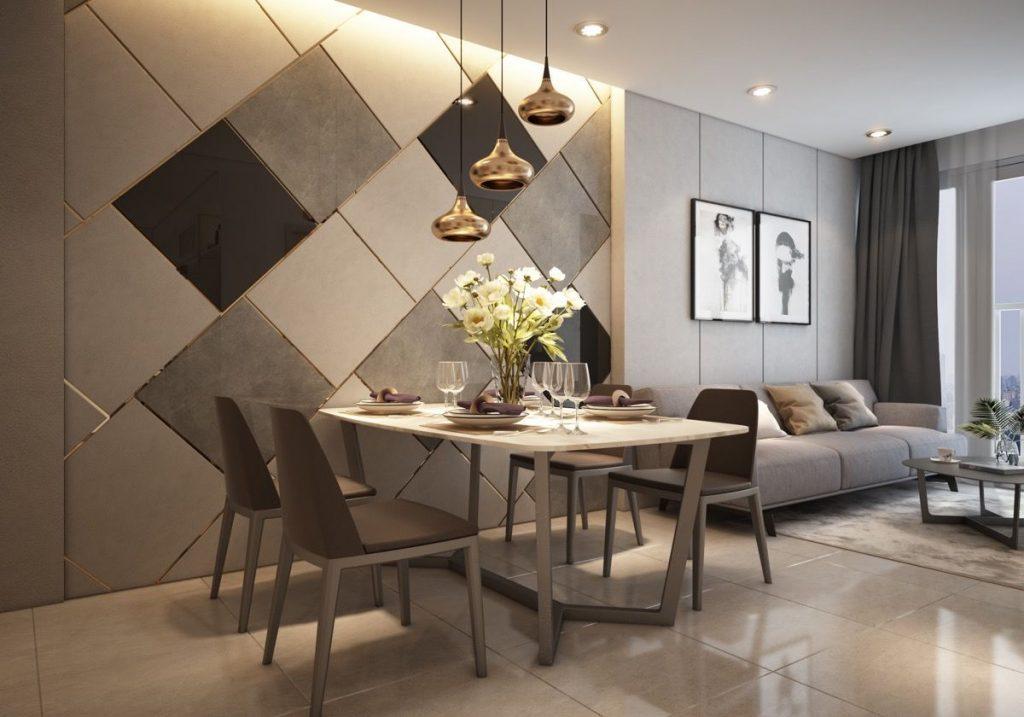 Sala comedor pequeña elegante moderna familiar