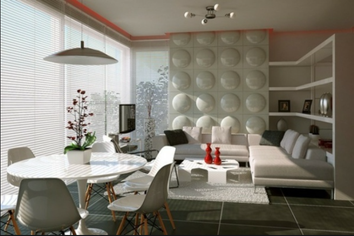 Sala comedor pequeña elegante moderna con toques retro
