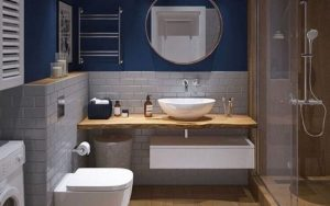 baño pintado de azul